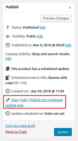 WooCommerce Scheduled product updates